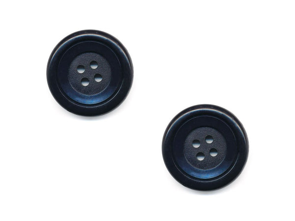 Round Double Rimmed Plain Buttons - Blue - 458