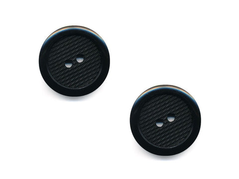 Round Plastic Textured  Button - Black - 483