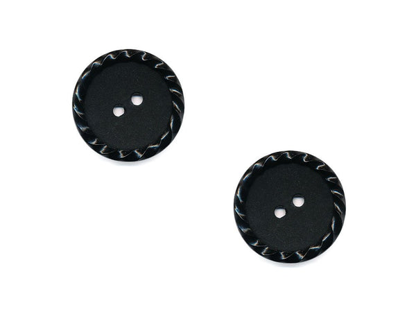 Round Plain Buttons with Textured Rim - Black - 486