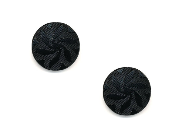 Round Textured Flower Design Buttons - Black - 488