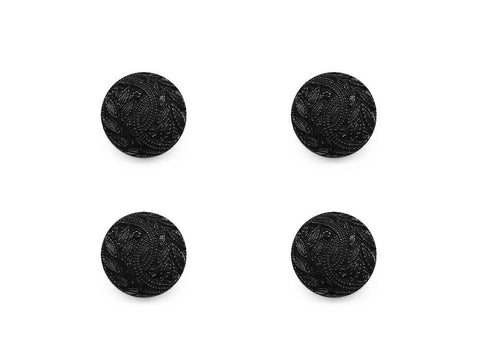Round Textured Design Buttons - Black - 489