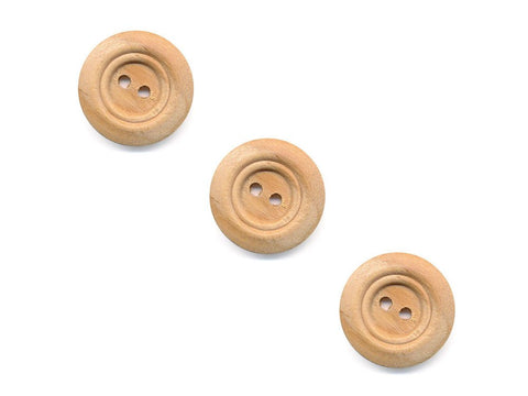 Rimmed  Round Buttons - Wood - 098