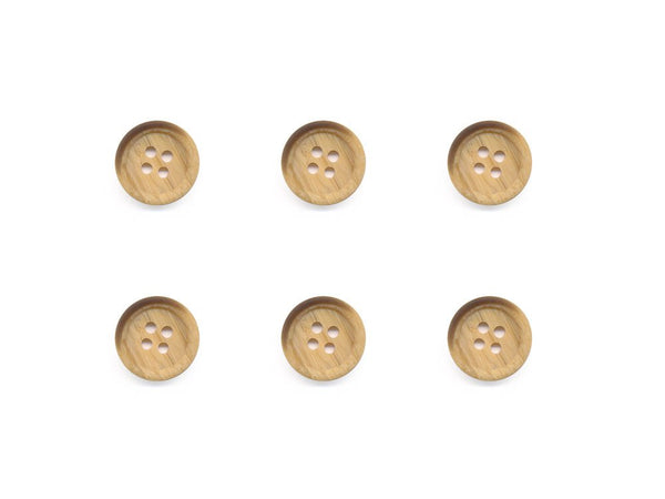 Round Rimmed Wood Effect Buttons - Beige - 523