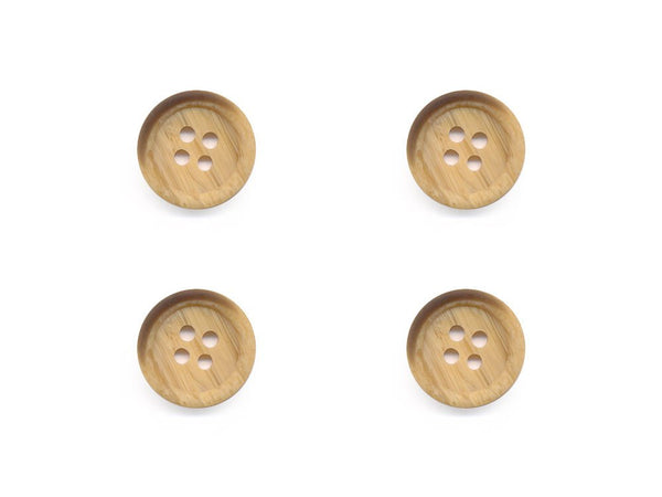 Round Rimmed Wood Effect Buttons - Beige - 524