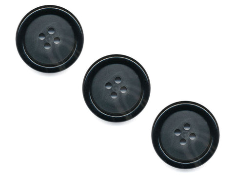 Round Rimmed Two-Tone Buttons - Black & Translucent - 534