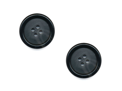 Round Rimmed Two-Tone Buttons - Black & Translucent - 535