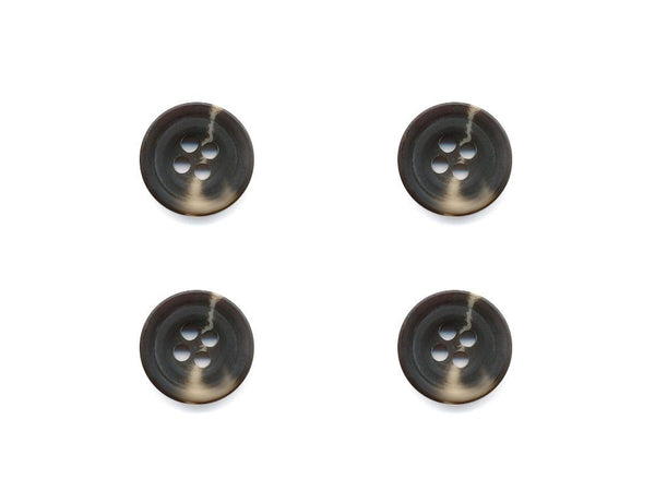Round Rimmed Two-Tone Buttons - Brown & Beige - 537
