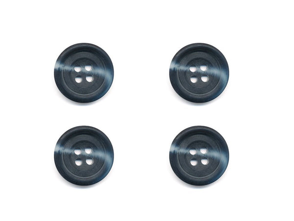 Round Rimmed Two-Tone Buttons - Black & Grey - 544