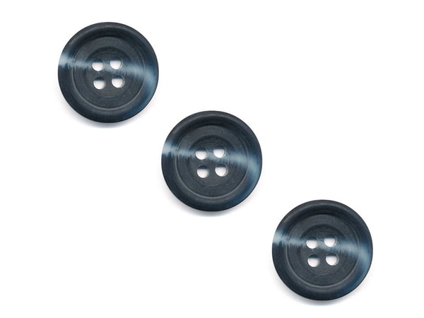 Round Rimmed Two-Tone Buttons - Black & Grey - 545