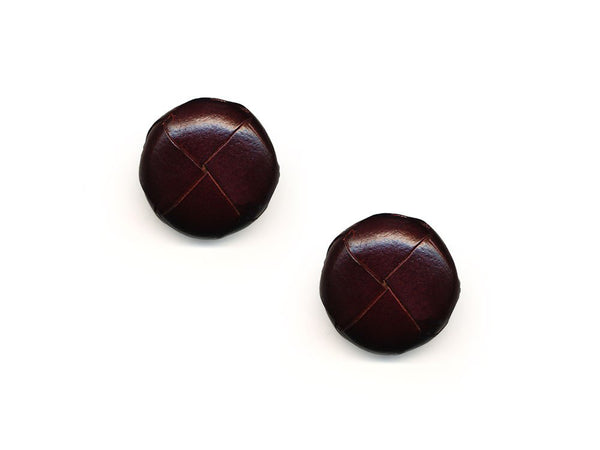 Round Leather Buttons - Brown - 558