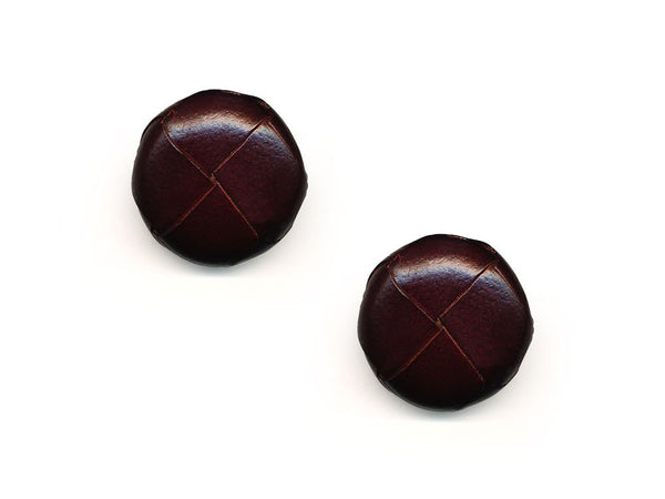Round Leather Buttons - Brown - 559