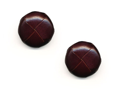 Round Leather Buttons - Brown - 560