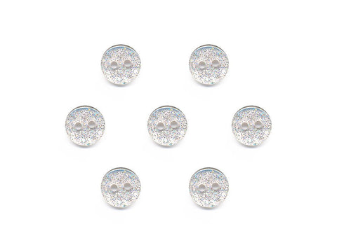 Round Plain Glitter Buttons - Clear - 848