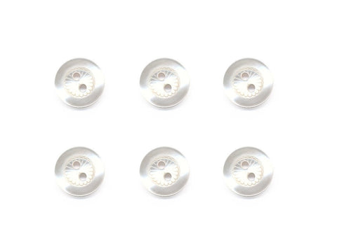 Round Petal Detail Buttons - White - 855