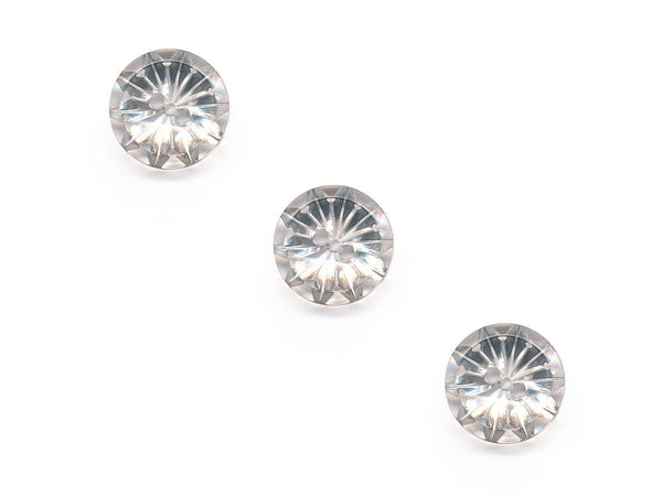 Round Flower Effect Buttons - Clear - 883