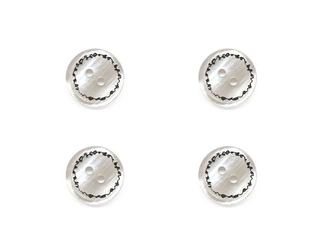 Round Pearl Effect Printed Buttons - Cream - 889