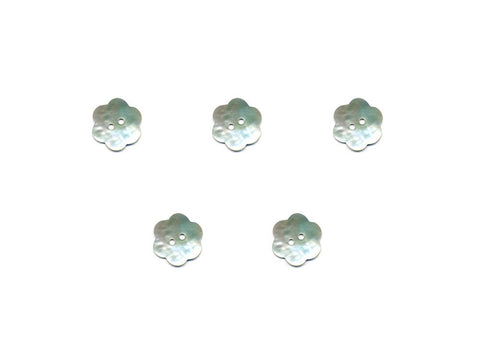 Flower Shaped Shell Buttons - Silver - 904-Deramores