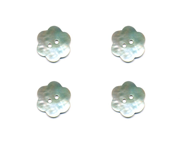 Flower Shaped Shell Buttons - Silver - 905