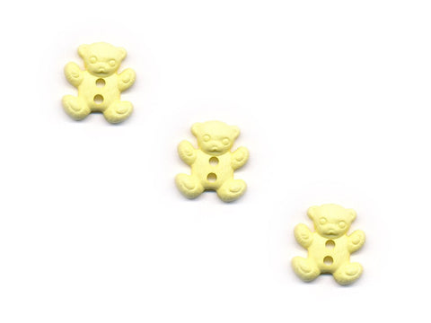 Teddy Bear Shaped Buttons - Yellow - 915