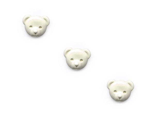 Teddy Bear Head Shaped Rubber Buttons - Cream - 916