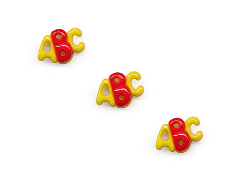 ABC Shaped Buttons - Yellow/Red - 917-Deramores
