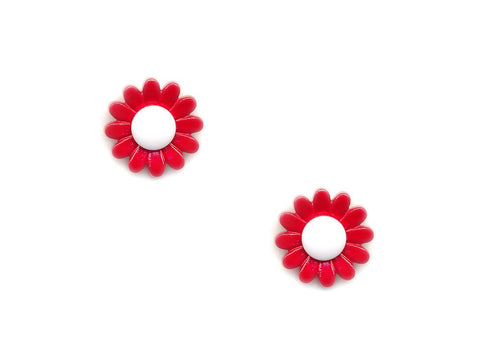 Flower Buttons - Red & White - 927-Deramores