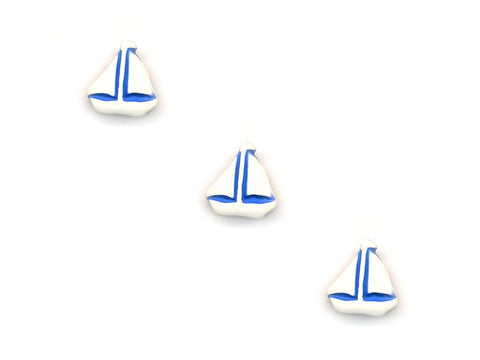 Boat Shaped Buttons - Cream & Blue - 959-Deramores