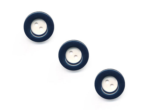 Round Rimmed Two-Tone Buttons - Blue & Cream - 963