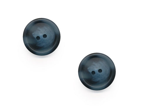 Chunky Round Rimmed Wood Effect Buttons - Blue - 979-Deramores
