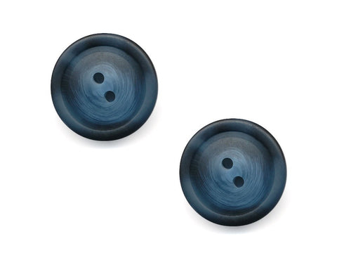 Chunky Round Rimmed Wood Effect Buttons - Blue - 980-Deramores