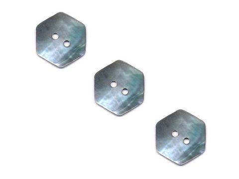 Hexagonal Shaped Shell Buttons - Silver - 982-Deramores