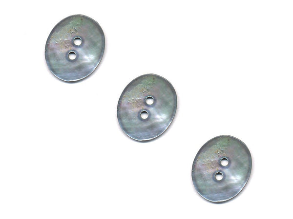 Oval Shaped Shell Buttons - Silver - 987