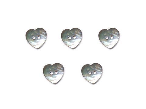 Heart Shaped Shell Buttons - Silver - 990-Deramores