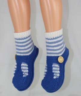 Childrens Stripe Sock T Bar Sandal Slippers by MadMonkeyKnits (1041) - Digital Version-Deramores