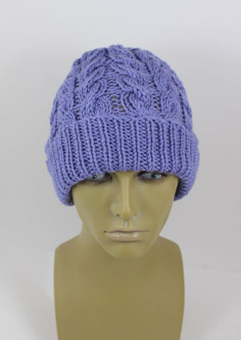 Chunky Double Cable Beanie Hat  by MadMonkeyKnits (1016) - Digital Version-Deramores