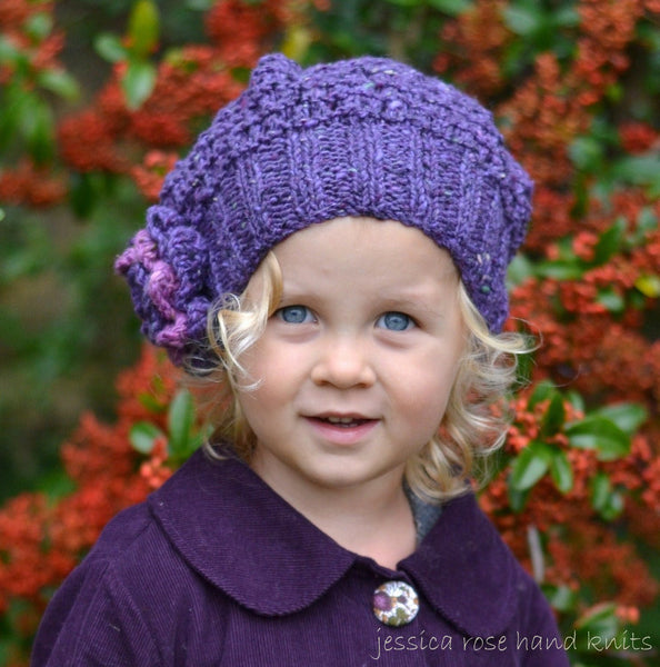 2 x 2 Rib Damson Tweed Slouchy Hat by Linda Whaley - Digital Version-Deramores