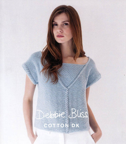 Cable Detail Top in Debbie Bliss Cotton DK (DB003)-Deramores