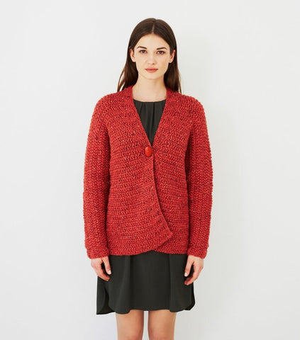 Sideways Knitted Jacket in Debbie Bliss Paloma Tweed (DB041)
