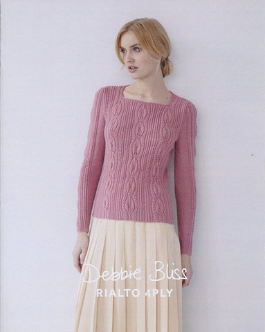 Leaf Stitch Sweater in Debbie Bliss Rialto 4 Ply (DB077)-Deramores