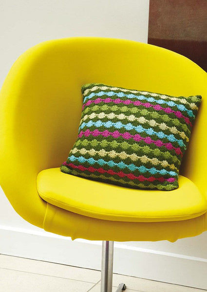 Dot Stripe Cushion in Rowan Pure Wool Worsted - Digital Version-Deramores