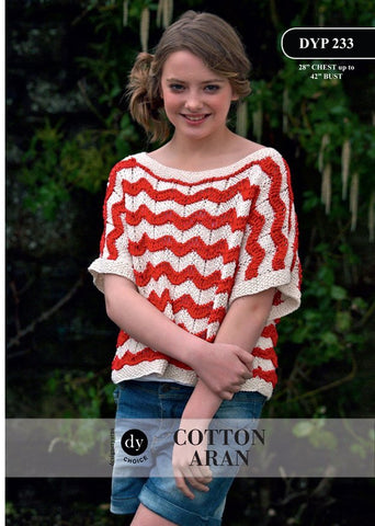 Young Lady Loose Fit 2 Colour Short Sleeved Top in DY Choice Cotton Aran (DYP233)