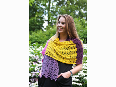 Feather & Fan Shawl Crochet Kit and Pattern in Scheepjes Yarn