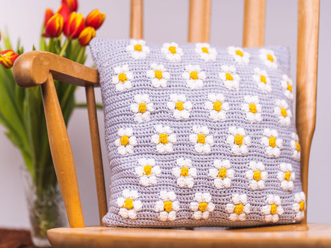 Mini Daisy Bobble Cushion Crochet Kit and Pattern