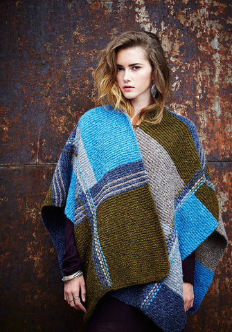 Geometric Weave Poncho in Rowan Brushed Fleece - Digital Version-Deramores