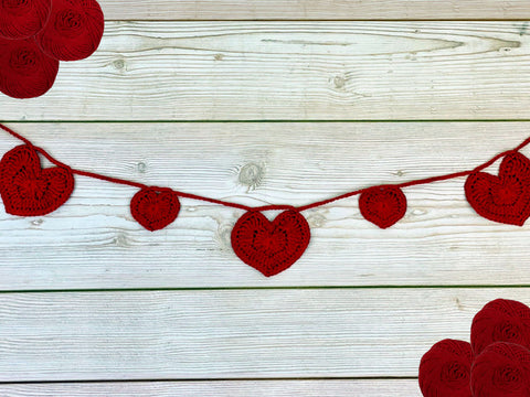 Love Heart Bunting Crochet Kit and Pattern in Deramores Yarn