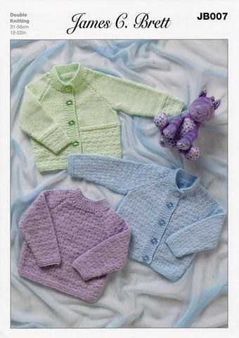 Cardigans and Sweater in James C. Brett Magi-Knit DK, Baby DK and Supreme Baby DK (JB007)-Deramores