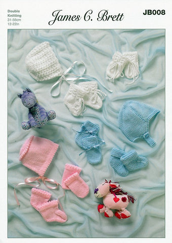 Helmets, Bonnets, Mittens and Bootees in James C. Brett Baby DK and Supreme Baby DK (JB008)-Deramores