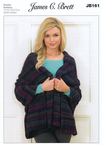 Hooded Wrap in James C. Brett Marble DK (JB161)-Deramores