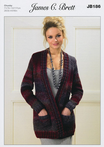 Jacket in James C. Brett Marble Chunky (JB186)-Deramores
