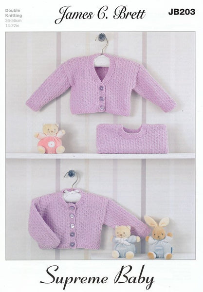 Cardigans and Sweater in James C. Brett Supreme DK (JB203)-Deramores
